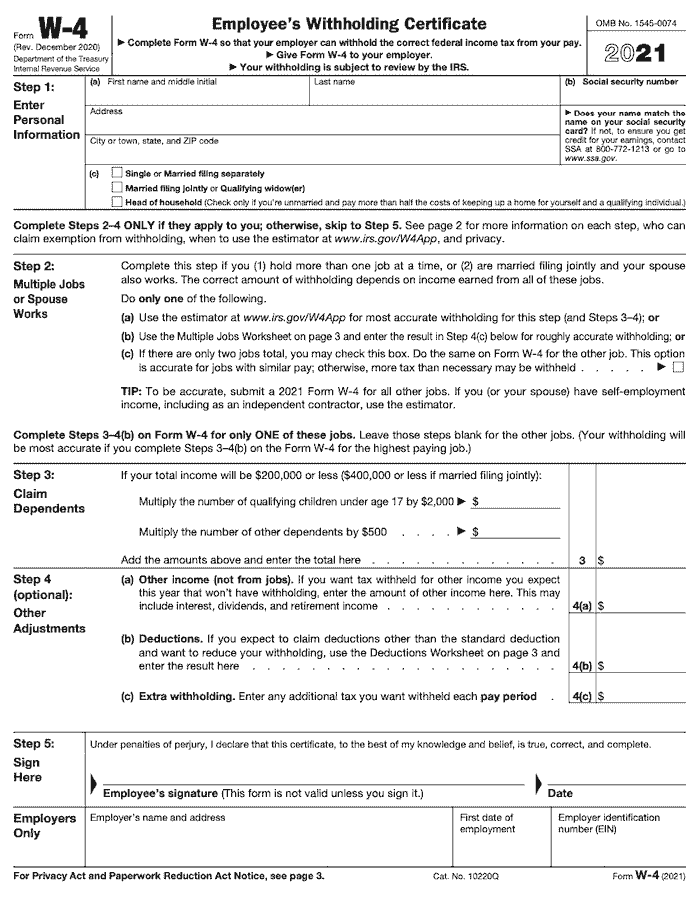 this is the 2021 IRS W4 form